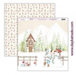 """Papel de la Colección """"Una Navidad de Cuento"""", Muñeco de nieve, Dayka"""