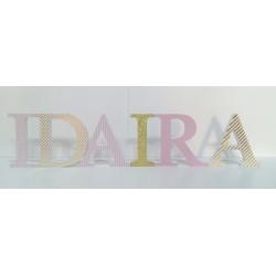 Letrero de nombre IDAIRA para pegar en pared