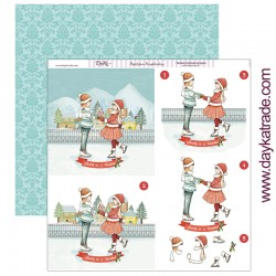 """Papel de la Colección Feliz Navidad """"Niños patinando"""", Dayka"""