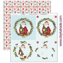 """Papel de la Colección Feliz Navidad """"Bolas de Papa Noel"""", Dayka"""