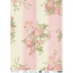 Papel de Cartonaje Flores y Rayas, 32x45 cm