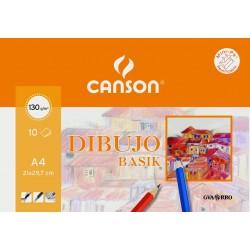 Blister de 10 hojas de Papel Canson Basik 130gr, A4