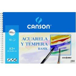 Bloc Papel Canson Basik Acuarela y Témpera 370gr, A3+