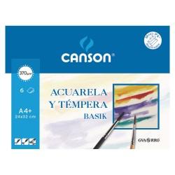 Blister de 6 hojas de Papel Canson Basik Acuarela y Témpera 370gr, A4+