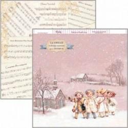 """Papel de Navidad """"Paisaje nevado con niños"""", Dayka"""