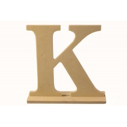 Letra K de madera con peana