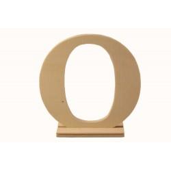 Letra O de madera con peana