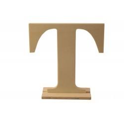 Letra T de madera con peana