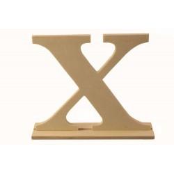 Letra X de madera con peana