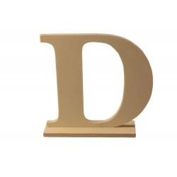 Letra D de madera con peana