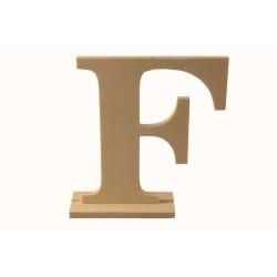 Letra F de madera con peana