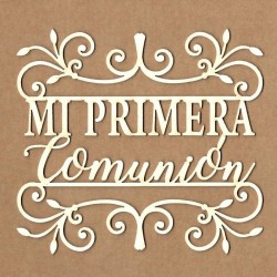 "Letrero ""Mi primera comunión entre bordes"""