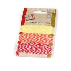 Set de cuerda algodón amarilla,naranja y roja