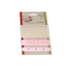 Set de encajes y lazos rosas