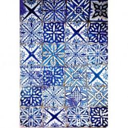 Papel de arroz azulejos azules