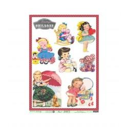 Papel de arroz vintage children niñas