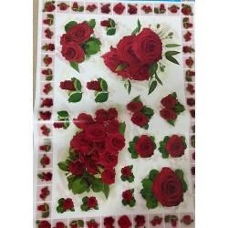 Papel de decoupage flores rojas