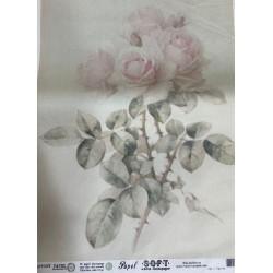Papel de arroz flores fondo crema y flor