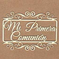 """Letrero """"Mi primera comunión en marco rectangular"""""""