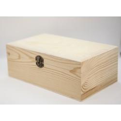 Caja de madera tipo cofre plano 16x9x6 cm