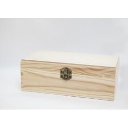Caja de madera tipo cofre plano 24.5x15x9.5 cm