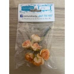 Flores rosas naranjas papel
