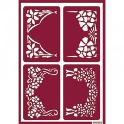 Plantilla de Stencil Ácido Marcos Florales, 15x20 cm