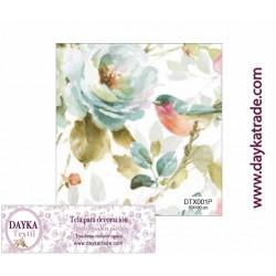 Tela para Decoración Flores, pieza de 1mx50cm, Dayka Textil