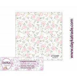 Tela para Decoración rosas pequeñas, pieza de 1mx50cm, Dayka Textil